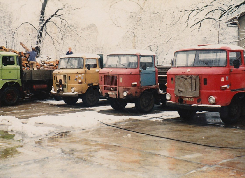 Originalfoto von 1985 des Fuhrparks von Grubitz & Leitloff