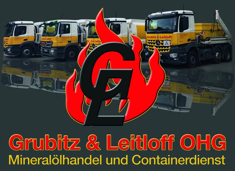 Bildmontage mit Fuhrpark und Logo der Grubitz & Leitloff OHG